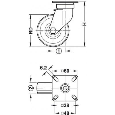 Мебелно колелo Ø50 мм, със стопер - HAFELE - Цена: 22.12 лв.
