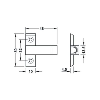 Адаптер за магнитен push шнапер, с позициониращ ръб - HAFELE - Цена: 0.72 лв.