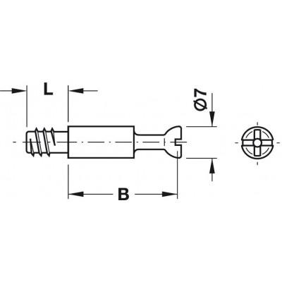 Болт с плътно тяло, Ø7 мм - HAFELE - Цена: 0.16 лв.