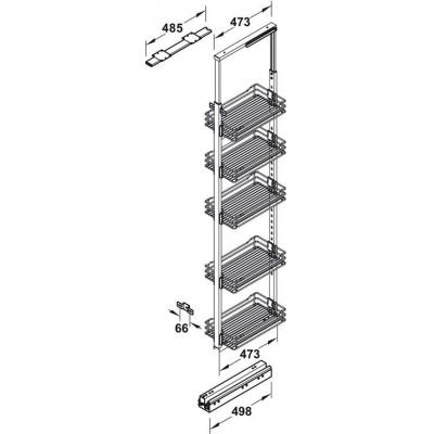 Изтеглящ механизъм за висок корпус с 5 бр. кошници и стабилизатор за врата - HAFELE - Цена: 703.08 лв.