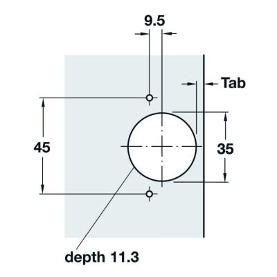 Мебелна панта Metalla SM, изхвърляща, без плавно прибиране 110°, ПК - HAFELE - Цена: 1.31 лв.