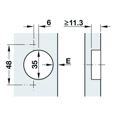 Мебелна панта Metalla SM, изхвърляща, без плавно прибиране 110°, ППК - HAFELE - Цена: 1.37 лв.