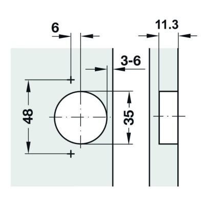 Мебелна панта Metalla SM Combi, 110°, ПК, без плавно затваряне - HAFELE - Цена: 3.08 лв.