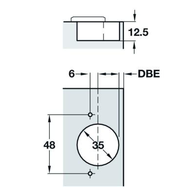 Мебелна панта Metallamat A изхвърляща с ъгъл на отв. 110°, ПК - HAFELE - Цена: 1.07 лв.