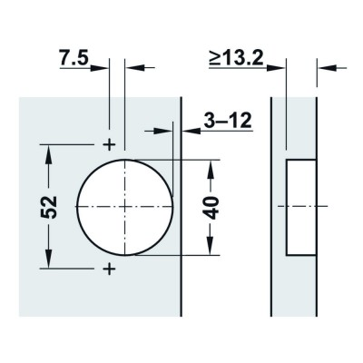 Мебелна панта Metallamat A изхвърляща за врати с гол.дебелина, ъг.на отв. 92°, ПК - HAFELE - Цена: 3.84 лв.