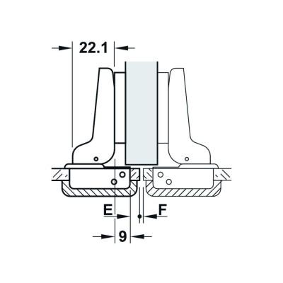 Мебелна панта Metallamat A изхвърляща за врати с гол.дебелина, ъг.на отв. 92°, ППК - HAFELE - Цена: 4.08 лв.