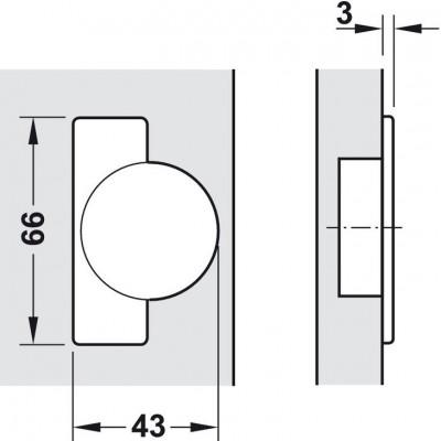 Мебелна панта Metallamat A изхвърляща за врати с гол.дебелина, ъг.на отв. 92°, ОК - HAFELE - Цена: 4.63 лв.