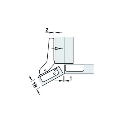 Мебелна панта Metallamat A изхвърляща за ъгъл на врата спрямо страница 120° (+30°), ъгъл на отв. 92° - HAFELE - Цена: 4.28 лв.