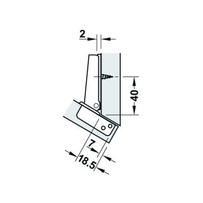 Мебелна панта Metallamat A изхвърляща за ъгъл на врата спрямо страница 60° (-30°) ,ъг.на отв. 92° - HAFELE - Цена: 4.18 лв.