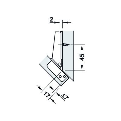 Мебелна панта Metallamat A изхвърляща за ъгъл на врата спрямо страница 45° (-45°), ъгъл на отв. 92° - HAFELE - Цена: 4.18 лв.