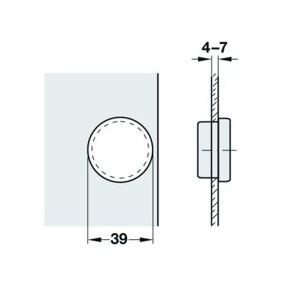 Мебелна панта Metallamat A изхвърляща за врати от стъкло, 92°, ППК - HAFELE - Цена: 2.45 лв.