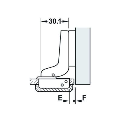 Мебелна панта Metallamat A изхвърляща за врати от стъкло, 92°, ОК - HAFELE - Цена: 2.58 лв.