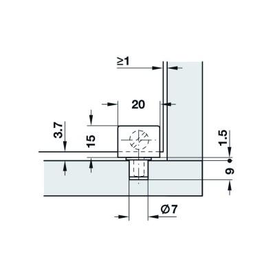 Мебелна панта за врата от стъкло, 90°, 20 мм, черен мат - HAFELE - Цена: 3.24 лв.