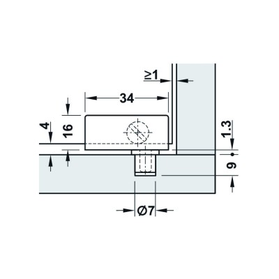 Мебелна панта за врата от стъкло, 90°, 34 мм, черен мат - HAFELE - Цена: 6.90 лв.