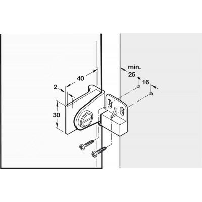Мебелна средна панта за врата от стъкло с H> 600 мм, хром полиран - HAFELE - Цена: 17.46 лв.