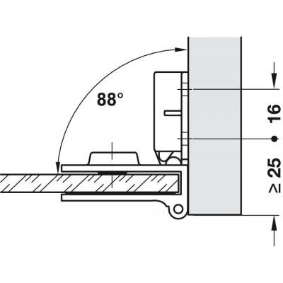 Мебелна панта за врата от стъкло, 170°, ОК, никел полиран - HAFELE - Цена: 14.40 лв.