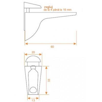Стъклоносач и рафтодържач от 4-16мм - Цена: 5.04 лв.