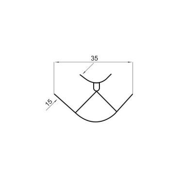 ПВЦ ъгъл за пвц цокъл с алуминиево покритие /90 градуса/ - Цена: 0.84 лв.
